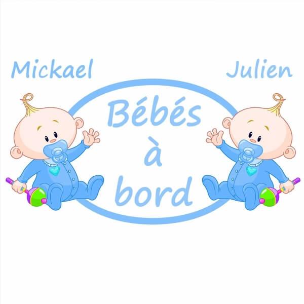 autocollant Bébé à bord jumeaux garçons assis