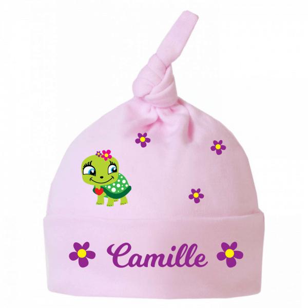 Bonnet bébé tortue et Flowers