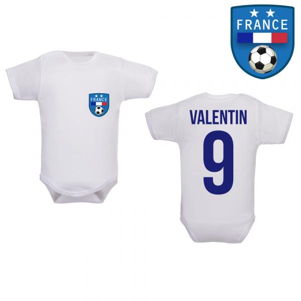 Body maillot de foot France au prénom de bébé 2 étoiles 36771b39c92