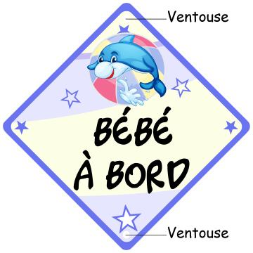 Bébé à bord panneau Dauphin bleu