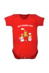 Body blanc manche courte motif et texte « Mon premier Noel »