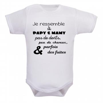 Body bébé Humour Papy va m/'apprendre tout ce qu/'il sait....