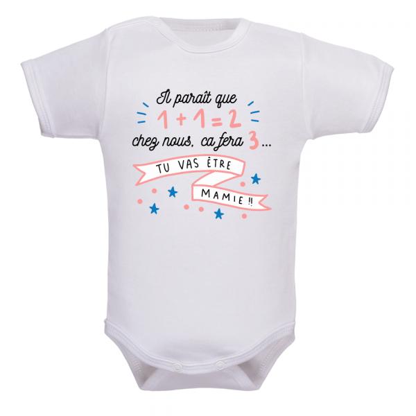 Body bébé annonce naissance mamie, un moment inoubliable !