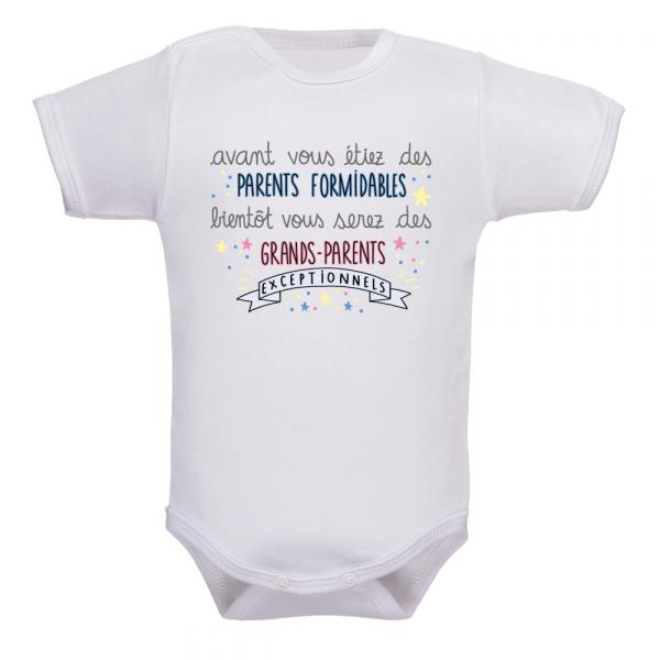 Body bébé annonce naissance, le cadeau pour les grands parents !