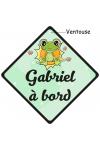 Bébé à bord grenouille avec prénom de votre bébé