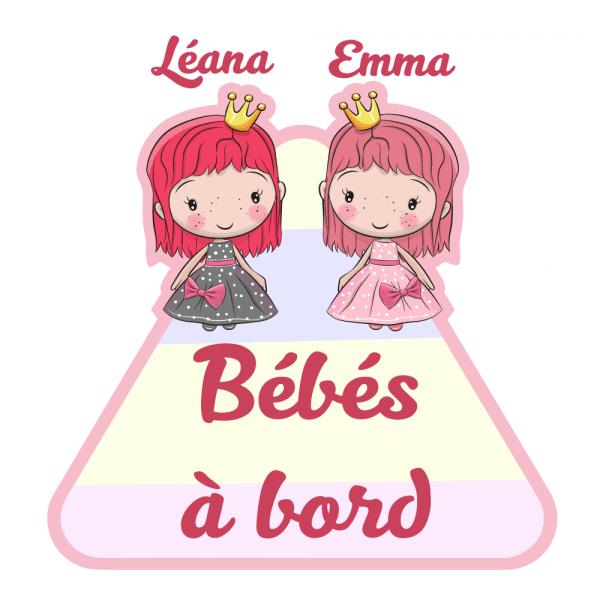 Sticker bébé à bord jumelles