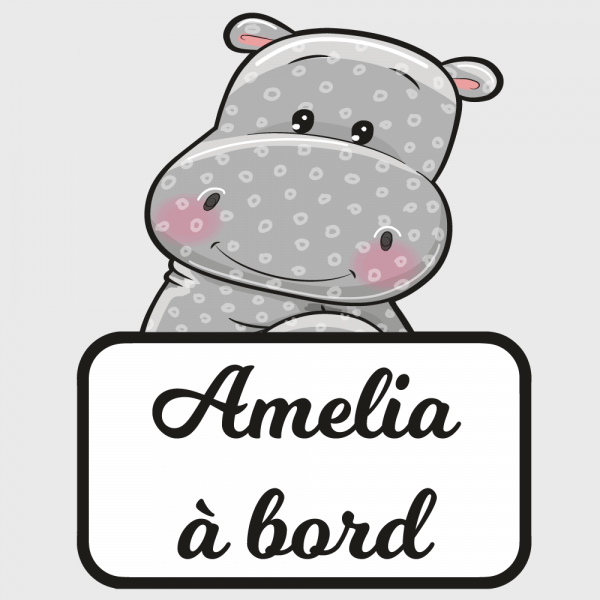 Sticker Bébé à bord  hippopotame pour la protection de bébé !