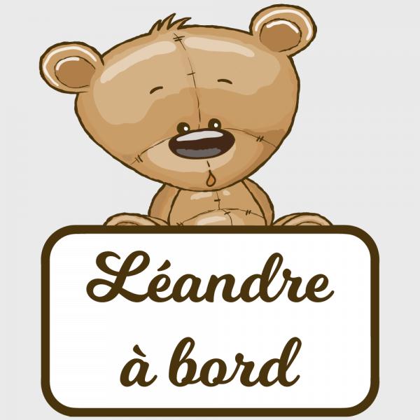 Sticker Bébé à bord : un ourson pour dire attention !