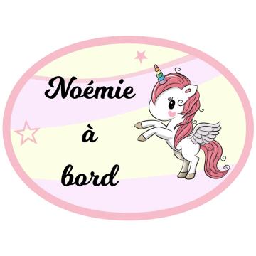 Sticker bébé à bord fée & cheval