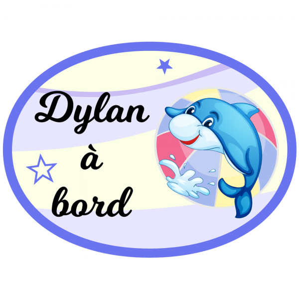 Sticker bébé à bord petit dauphin