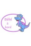 Sticker bébé à bord dino personnalisable