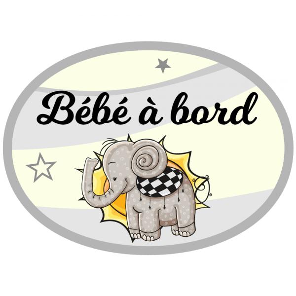 Bébé à bord sticker personnalisable éléphanteau