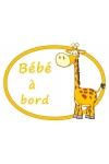 Sticker à coller bébé à bord girafe