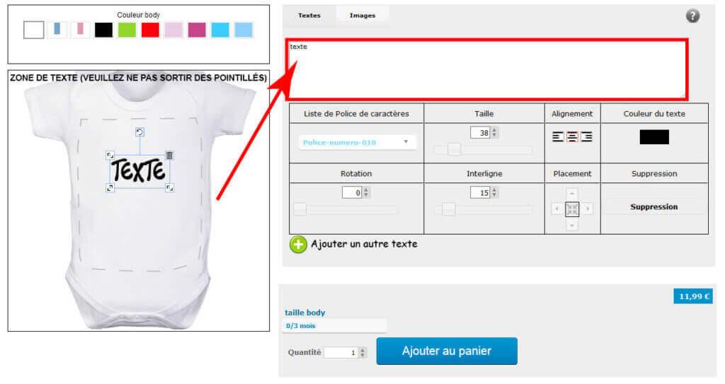 Modifier un texte sur un vêtement de naissance à customiser